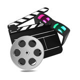 Clapboard With Anaglyph Glasses And Film Reel. Stock Image