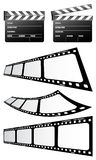 Clapboards and film. On the white background Stock Photography