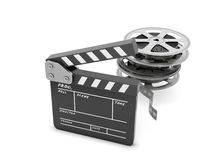 Clapboards  and film reel  Stock Photo