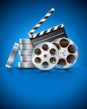 Clapet de cinéma et bande de film de vidéo sur le disque Photos stock