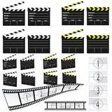 Clapet de film blanc et jaune et film Photographie stock libre de droits