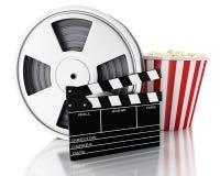 clapet du cinéma 3d, bobine de film et maïs éclaté Images libres de droits