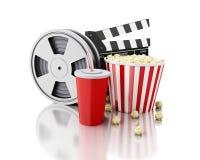 clapet du cinéma 3d, bobine de film, maïs éclaté et boisson Photographie stock