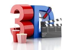 Clapet, maïs éclaté, boisson et verres 3d de cinéma illustration 3D illustration libre de droits