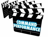 Clapper κινηματογράφων απόδοσης εντολής επιβιβάζεται να ενεργήσει στη σκηνή τρισδιάστατο Illustr Στοκ Εικόνες