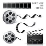 Clapper κινηματογράφων και εξέλικτρο ταινιών απεικόνιση αποθεμάτων