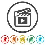 Clapper κινηματογράφων, χτύπημα ταινιών, 6 χρώματα συμπεριλαμβανόμενα διανυσματική απεικόνιση