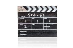 Clapper πίνακας στον άσπρο τίτλο Sci Fi υποβάθρου Στοκ Εικόνες