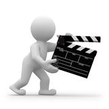Clapper. 3d human director with clapper for movie Royalty Free Stock Image