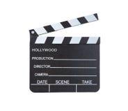 Κινηματογράφηση σε πρώτο πλάνο κλασσικό clapper κινηματογράφων έτοιμο να καταγράψει έναν νέο Στοκ φωτογραφία με δικαίωμα ελεύθερης χρήσης