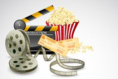 Clapper Baord with Film Reel. Illustration of clapper board with movie reel ticket and pop corn Stock Photography
