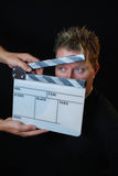 Clapper board. In a front of actor ready for filming Stock Photography