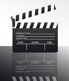 Clapper board. Black and white clapper board with reflection over white background. vector Stock Photography