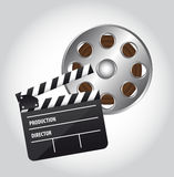 Clapper board. And movie film over gray background. vector Royalty Free Stock Images