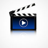 Clapper board. With blue display. Cinema equipment Stock Image