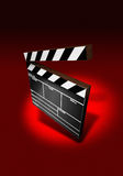 Clapper Board. On red background (3D image vector illustration