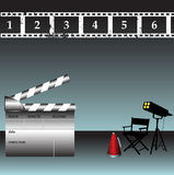 Clapper board. Abstract colorful illustration with clapper board, film strip, director chair and stage lights Royalty Free Stock Photo