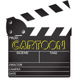 Clapper Board Cartoon. A director`s `Cartoon` clapper board isolated on a white background Stock Photo