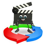Clapper Board Character with arrow Royalty Free Stock Images