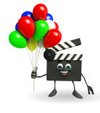 Clapper Board Character with balloons Royalty Free Stock Image