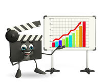 Clapper Board Character with business graph Royalty Free Stock Photography