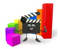 Clapper Board Character with business graph Stock Images