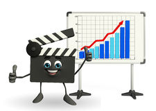 Clapper Board Character with business graph Royalty Free Stock Photo