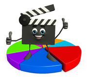 Clapper Board Character with business graph Stock Photo