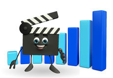 Clapper Board Character with business graph Royalty Free Stock Image