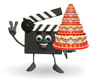 Clapper Board Character with cake Royalty Free Stock Photography