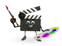 Clapper Board Character with color plate Stock Photos