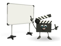 Clapper Board Character with display board Royalty Free Stock Images