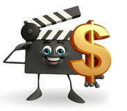Clapper Board Character with dollar sign Royalty Free Stock Photos