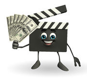Clapper Board Character with dollars Royalty Free Stock Images