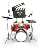 Clapper Board Character with drum set Royalty Free Stock Image