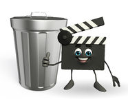 Clapper Board Character with dustbin Royalty Free Stock Images