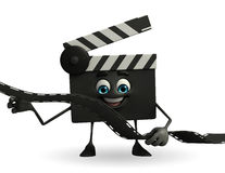 Clapper Board Character with film roll Stock Image
