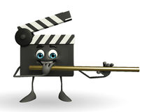 Clapper Board Character with flute Stock Photography