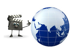 Clapper Board Character with globe Stock Photos