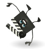 Clapper Board Character with hand standing pose Royalty Free Stock Photos