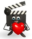 Clapper Board Character with heart Stock Photos