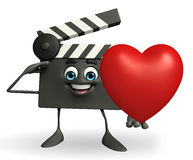 Clapper Board Character with heart Royalty Free Stock Photo