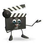 Clapper Board Character with holding pose Royalty Free Stock Photo