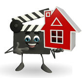 Clapper Board Character with home Royalty Free Stock Photography