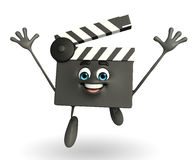 Clapper Board Character is jumping Stock Photo