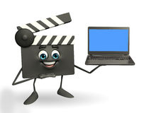 Clapper Board Character with laptop Royalty Free Stock Photo