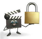 Clapper Board Character with lock Royalty Free Stock Image