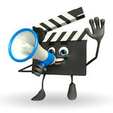 Clapper Board Character with loudspeaker Stock Images
