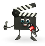 Clapper Board Character with mike Royalty Free Stock Image