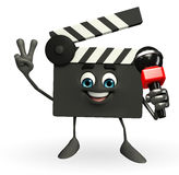 Clapper Board Character with mike Royalty Free Stock Photography